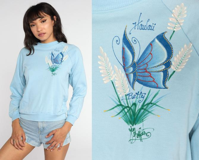 Hawaii Butterfly Sweatshirt 80s BETTY Baby Blue Hand Painted Sweatshirt Graphic Print Pullover 1980s Raglan Sleeve Vintage Extra Small xs by ShopExile