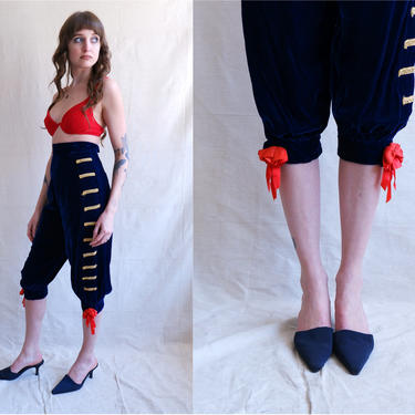 Vintage Blue Velvet Baroque Breeches/ High Waisted Handmade Costume/ Pirate/Rococo/  Size XS by bottleofbread