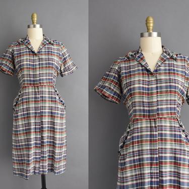 1950s vintage dress   Adorable Plaid Print Short Sleeve Cotton Shirt Dress    Medium   50s dress by simplicityisbliss
