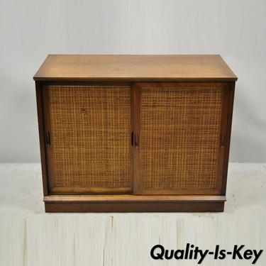 Vintage Mid Century Walnut Cane Front Double Sliding Door 36