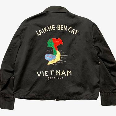 Vintage 1960s Vietnam War Souvenir Jacket ~ M to L (Short) ~ Sukajan / Map ~ Lai Khe / Ben Cat Airbase ~ Militaria by SparrowsAndWolves