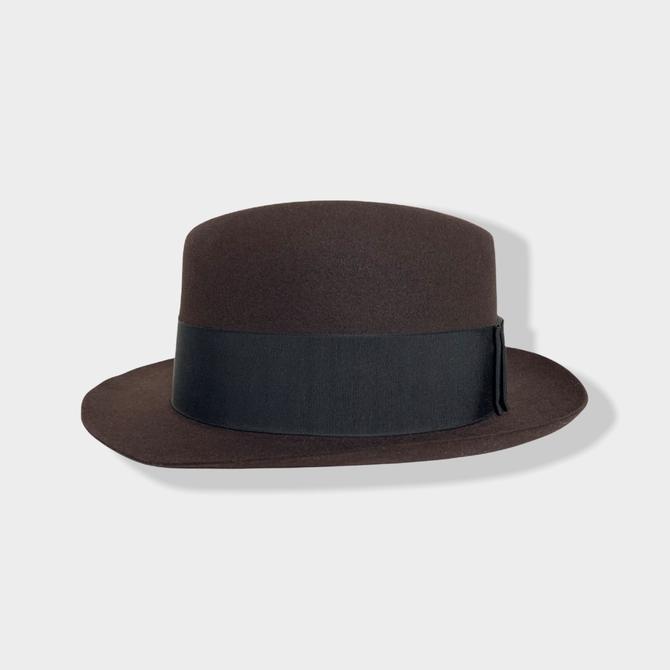 MINT ~ Vintage 1950s DOBBS Back Bow Fedora ~ size 7 1/8 ~ Fur Felt Hat ~ Raw Edge ~ Short Brim by SparrowsAndWolves