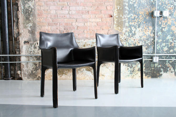 Black Leather 'Cab' Arm Chairs by Mario Bellini for Cassina