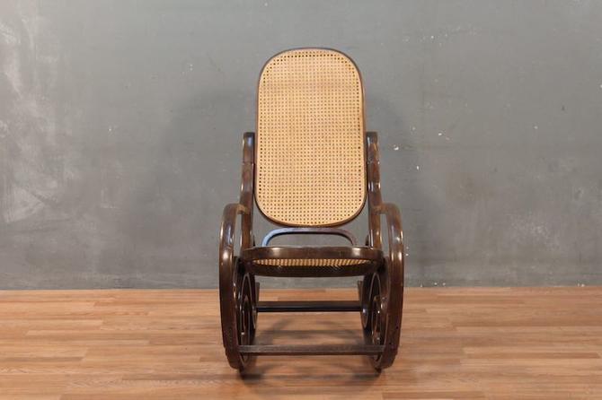 Thonet-Style Dark Bentwood & Cane Rocking Chair – ONLINE ONLY