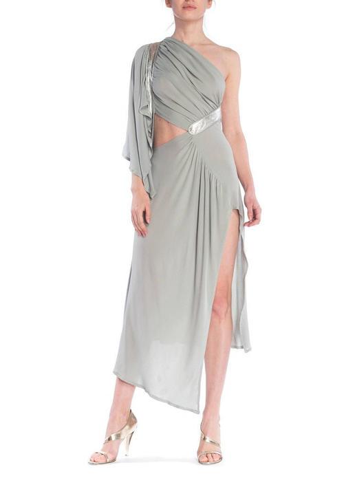 Morphew Collection Seafoam Grey Silk Jersey Draped Cut-Out Cocktail Dress by SHOPMORPHEW