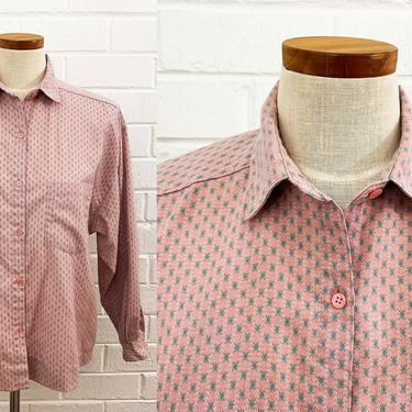 Vintage Tarazzia Pale Pink Starburst Button Front Long Sleeve Brushed Flannel Shirt Top Collar Secretary Blouse Blush Baby Blue XL Large by CheckEngineVintage