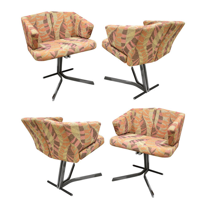 Saporiti Set Of 4 Sculptural Dining/Game Chairs 1970s (Signed)