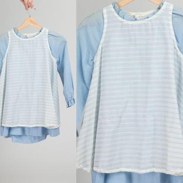 60s Blue Gingham Apron Toddler Dress - Size 5 | Vintage Calliope Long Sleeve Retro Kids Clothing by FlyingAppleVintage