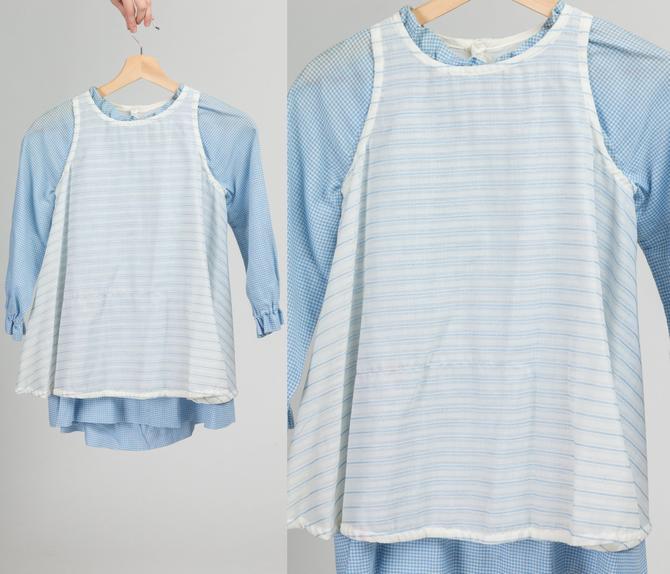 60s Blue Gingham Apron Toddler Dress - Size 5   Vintage Calliope Long Sleeve Retro Kids Clothing by FlyingAppleVintage