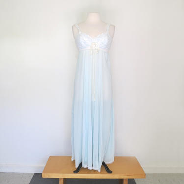 1960s or 1970s floaty sheer turquoise negligee with cups by flutterandecho
