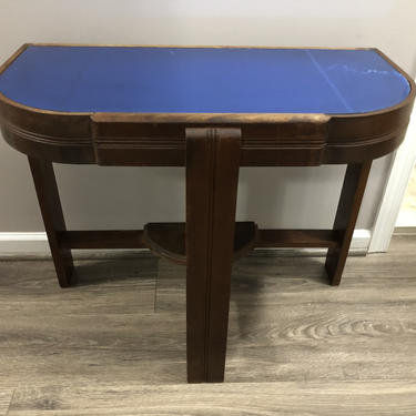 Art Deco console table with cobalt mirror top by MadModWorldVintage