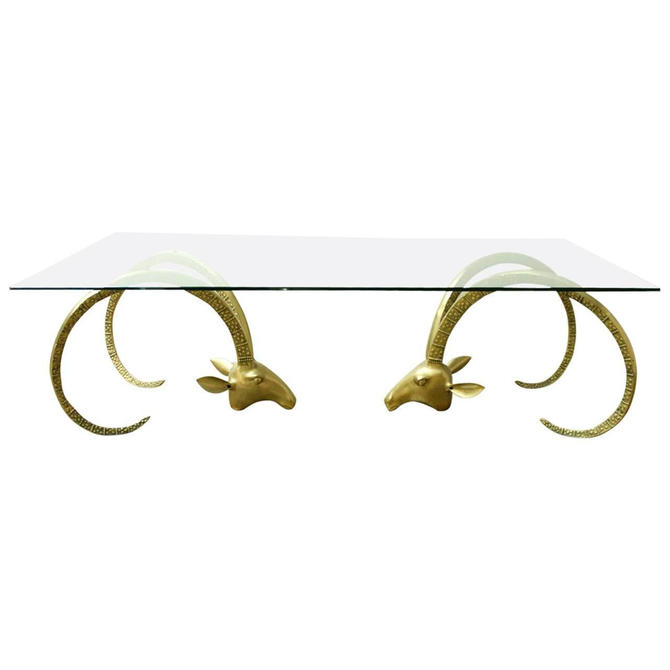 Large Brass Ibex Ram's Head Coffee Cocktail Table by ErinLaneEstate