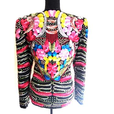 Vintage Embellished sequined HEART ART DECO beaded Tropy jacket abstract colored cocktail party dress bolero size small s medium m 8 by RETROSPECTNYC