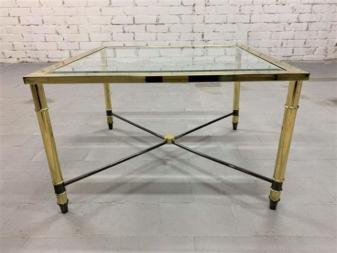 Vintage Italian 1970s Italian Hollywood Regency Design Coffee Table in Solid Brass and Glass