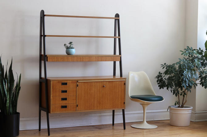 Mid Century Modern Scandinavian Shelf Unit with Dark Legs by SharkGravy