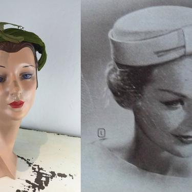With Sweeping Looks - Vintage 1950s 1960s Fern Green Velvet Small Caplet Dish Hat w/Feather by RoadsLessTravelled2