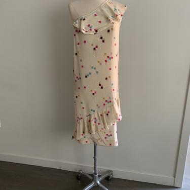 Basha-Silk one shoulder asymetrical ruffle dress-Size P (4) by MartinMercantile