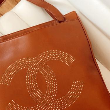 Vintage CHANEL XL Studded CC Monogram Logo Cognac Leather Shoulder Bag Tote Purse by MoonStoneVintageLA