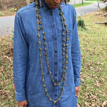 KC Pearls in Judah Shine/Crochet Bobble Necklace/Choker/Headband/Belt/Multifunctional Yarn Accessory in Red, Gold, Green and Metallic yarn by KonjoCrochet