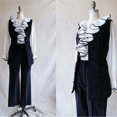 Vintage 60s Black Corduroy Suit/ 1970s Vest and High Waisted Pants/ Mod 60s 70s Pantsuit/ Size Small Medium by bottleofbread
