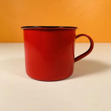 Vintage Red Porcelain Enamel Mug - Hong Kong by CoolCatVintagePA