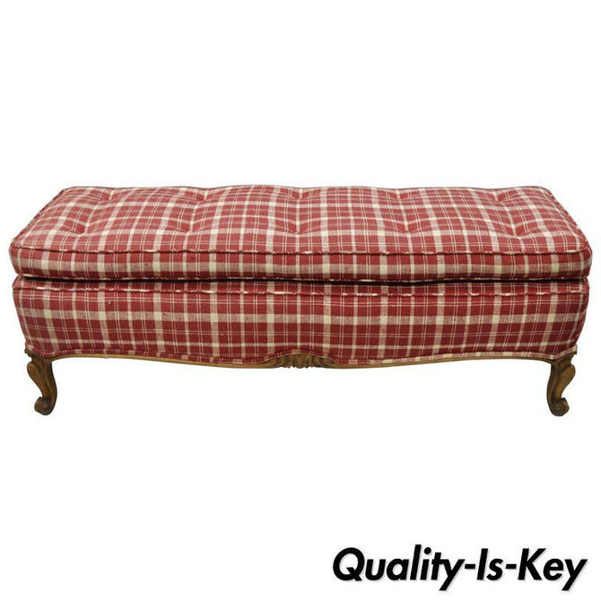 """Vintage Long Country French Louis XV Provincial Style 50"""" Carved Walnut Bench"""