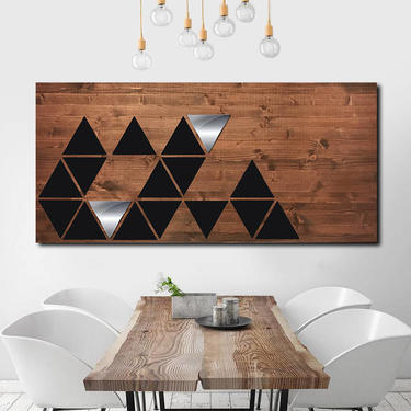 Geometric Wall Art, Wood Wall Art, Wood Wall Sculpture, Metal Art, Mid Century Modern, Minimalist Art Painting Large by LauraAshleyWoodArt