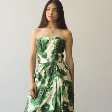 1950s Creme and Green Floral Silk Cocktail Dress by waywardcollection