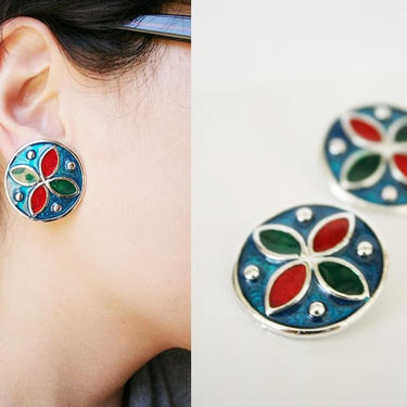 vintage ocean jewel clipon earrings or shoeclips by honeycombvintage