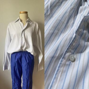 Vintage Menswear Blue and Beige Striped Button Down by DiscoLaundryVintage