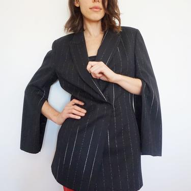 Gianfranco Ferre 1990s Wool Pinstripe Snap Front Blazer with Zipped Sleeves Cape Wool 90s Longline Minimal Minimalist Striped by backroomclothing
