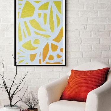 Sale-New Bright Yellow Orange Large 24x36, 36x48 Original Canvas Art Painting Abstract Minimalist Modern Contemporary Artwork by ArtbyDinaD by ArtbyDinaD