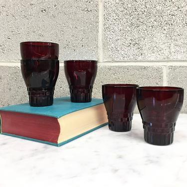 Vintage Drinking Glasses Retro 1980s Anchor Hocking + Windsor Pattern + Ruby Red + Set of 5 Matching + Juice Glasses + 8 Oz + Kitchen Decor by RetrospectVintage215