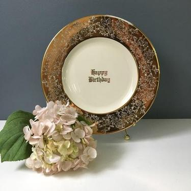Happy Birthday decorative plate - gold and cream plate wall decor by NextStageVintage