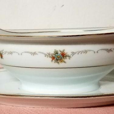 Vintage Noritake China Gravy Boat with Attached Underplate Joanne Pattern by OverTheYearsFinds