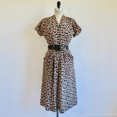 """Vintage 1950's Black Pink Rose Print Floral Fit and Flare Day Dress Wide Belt Rockabilly Swing Toni Todd  28"""" Waist Small by seekcollect"""