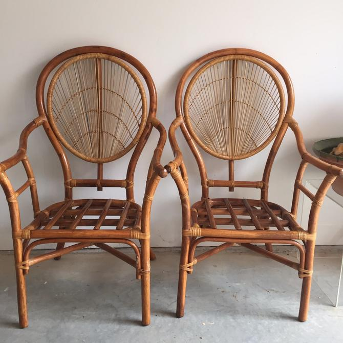 Pair of Mid-Century Fan back bamboo arm chairs