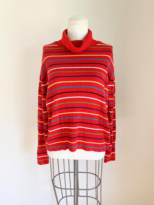 Vintage 1990s Red Rainbow Ribbed Turtleneck Sweater / M by MsTips