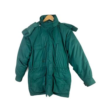 Vintage Green LL Bean Goose Down Jacket Coat, Size Small by Northforkvintageshop