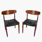 Four Teak Dining Chairs Black Leather Seats  Danish Modern A. M. 501 Made in Denmark by HearthsideHome