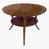 A Classic Mid-century Robsjohn-Gibbings for Widdicomb Round Walnut Klismos Sabre-leg Table