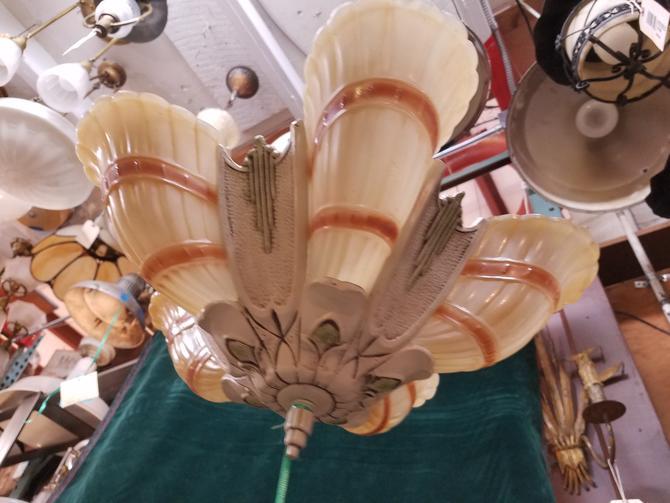 5 Lite Art Deco Chandelier. Slip Shades. 18 x 25.