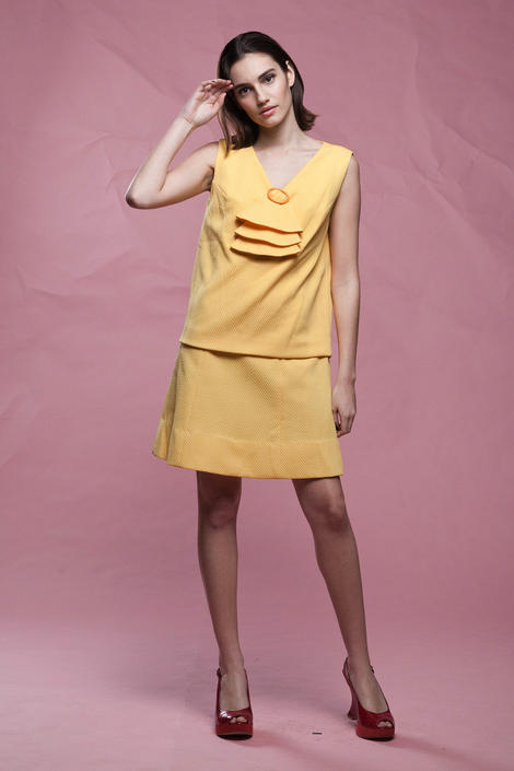 60s ascot dress, yellow sleeveless textured chevron drop waist mod mini vintage 60s MEDIUM M by shoprabbithole