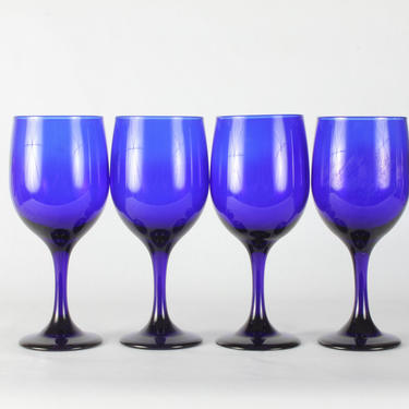 Vintage Libbey Cobalt Blue Wine Glassware, Vintage Glassware, Libbey Glassware, Blue Glassware, Wine Glassware, Libbey,  Set of 4 by 1882BlueVintage