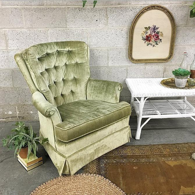 LOCAL PICKUP ONLY Vintage Lounge Chair Retro 1970s Fairfield Chair Company Green Velvet High Back Swivel Chair Living Room Bedroom + Nursery by RetrospectVintage215