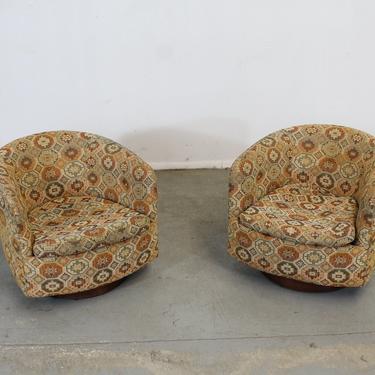 Pair of Mid-Century Modern Milo Baughman Swivel Rocker Club Chairs by AnnexMarketplace