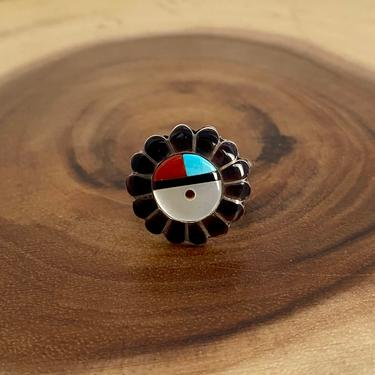 SUN WORSHIP Vintage Zuni Sun Face Ring | Silver with Turquoise Coral Jet Inlay | Native American Zuni Southwestern Jewelry, Size 10 1/4 by lovestreetsf