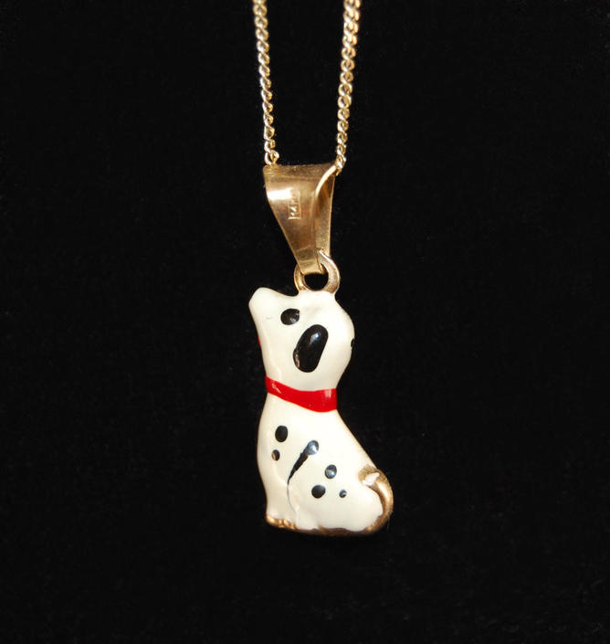 Italian Spotted Dog Charm 14K Necklace Vintage Miniature Black & White Puppy Porcelain Pooch Animal Accessories by Curiopolis