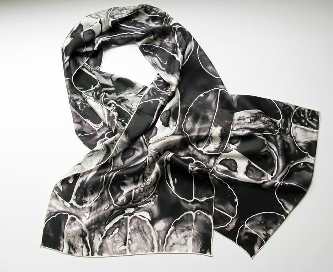 Black Brain Scan -  Silk Charmeuse Scarf - neuroscience scarf by artologica