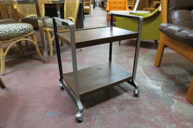 Vintage MCM walnut laminate and chrome bar cart